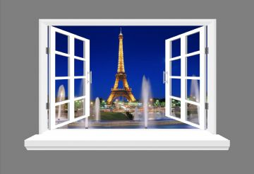 Paris Eiffel Tower 3D Window view, wall art sticker